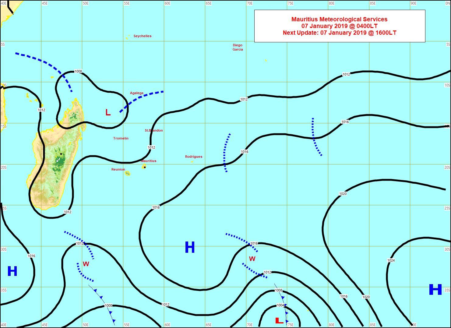 Carte synoptique réalisée à 04h ce matin.  Météo mauricenne,Vacoas.