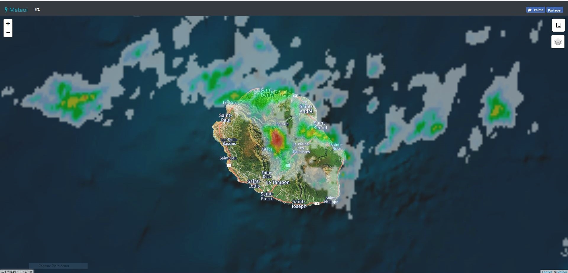 Image radar de 11h55. https://www.meteoi.re/