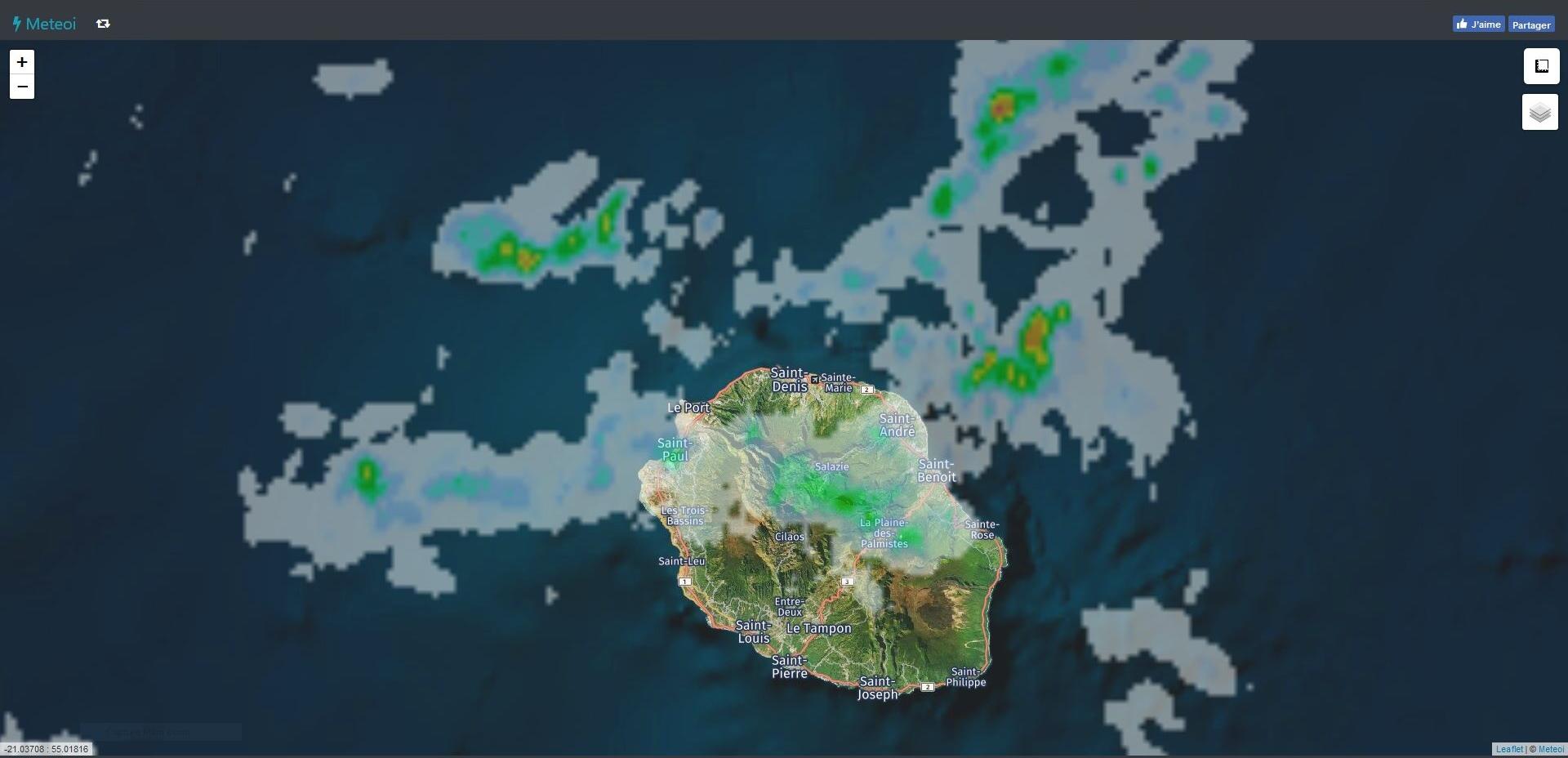 Image radar de 20h40. https://www.meteoi.re/