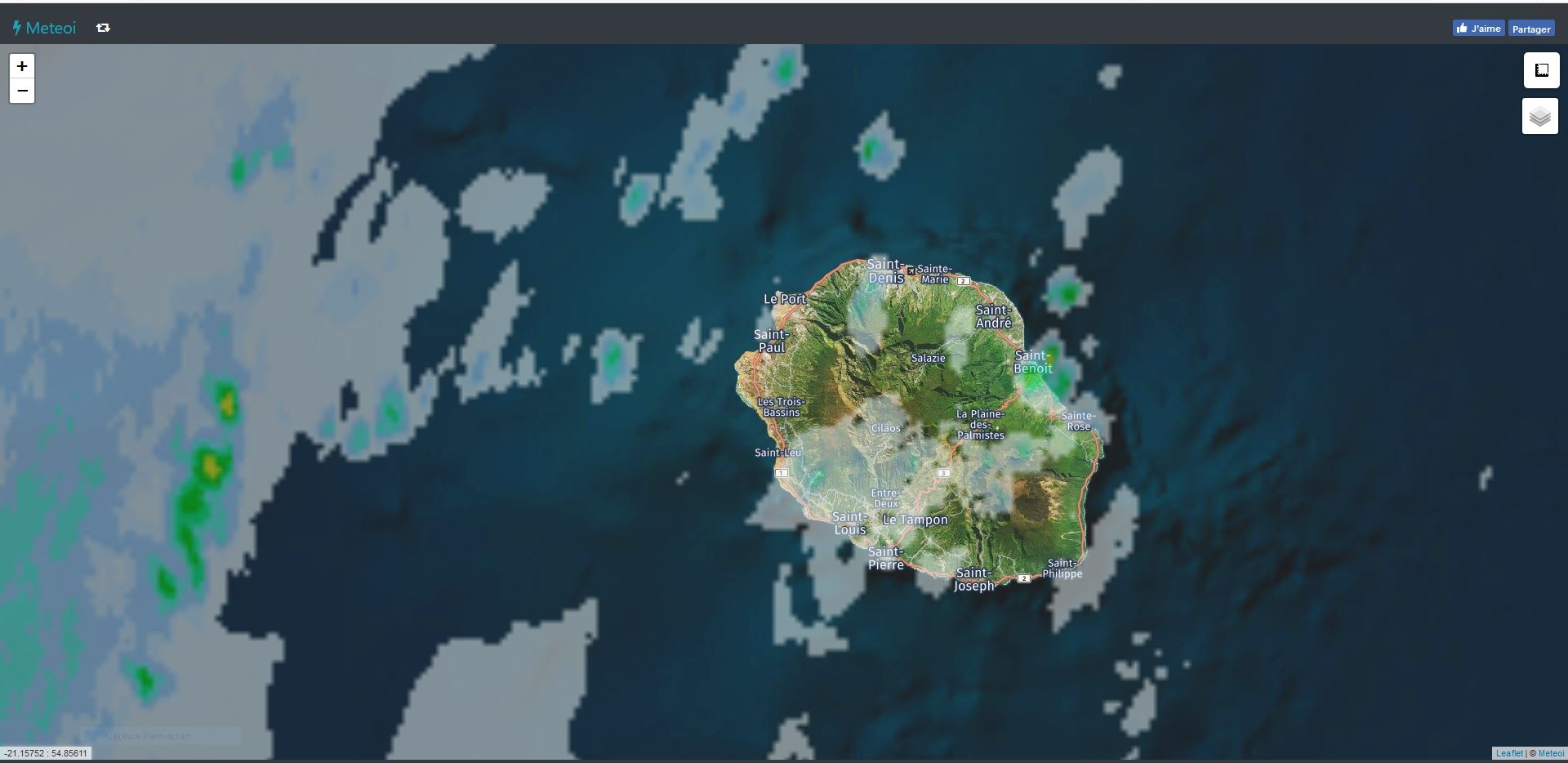 Image radar de 07h. https://www.meteoi.re/