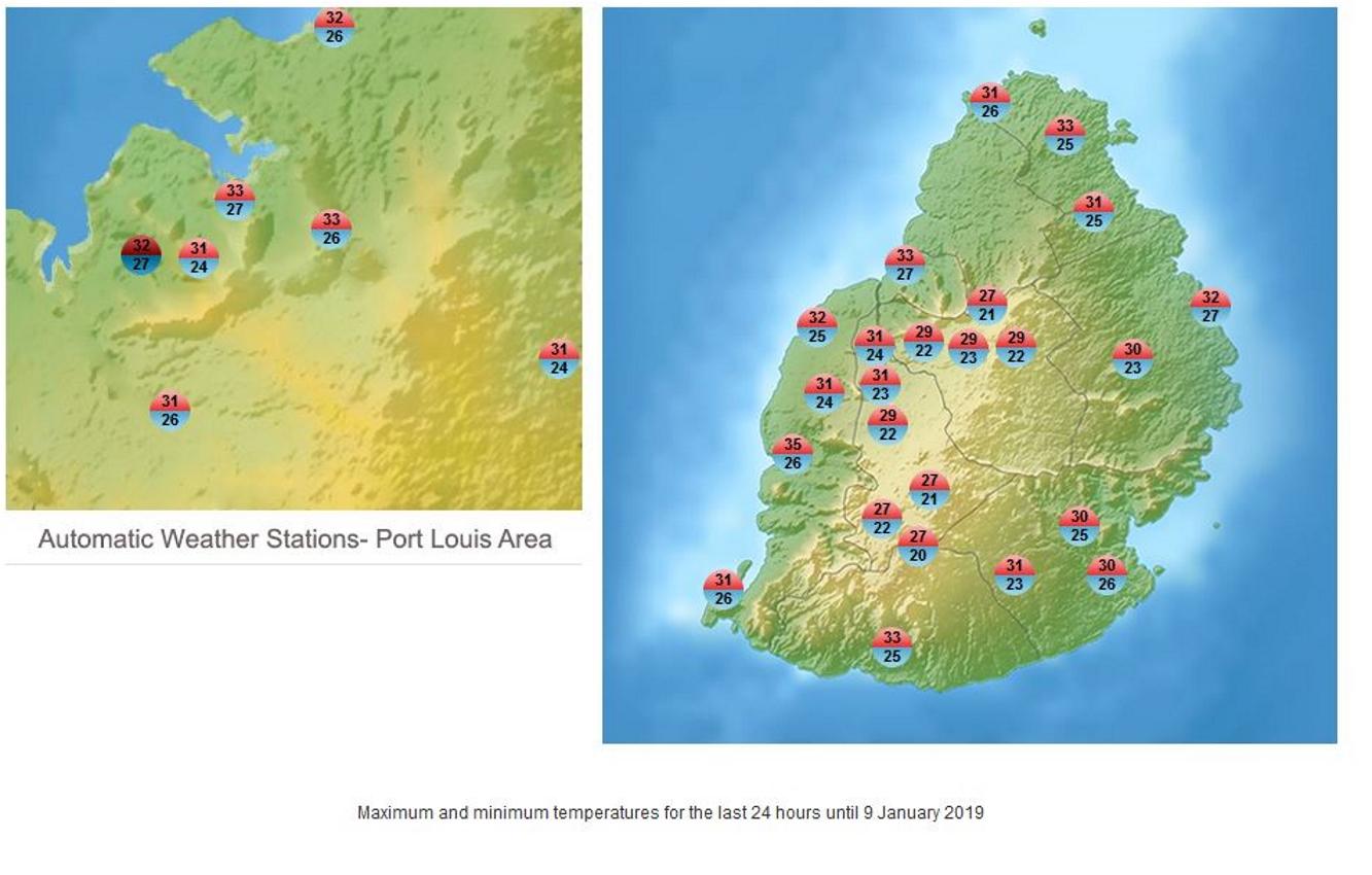 Températures maximales du jour sous abri dans les stations de MMS/Vacoas. 35°C à Rivière Noire.