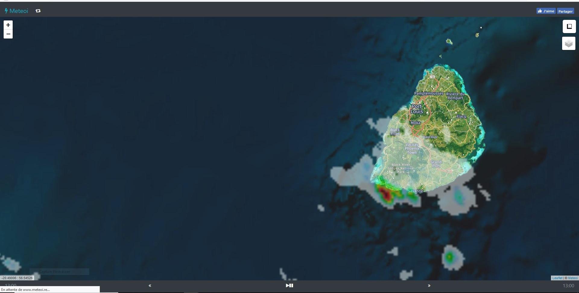 Image radar de 13h00. https://www.meteoi.re/