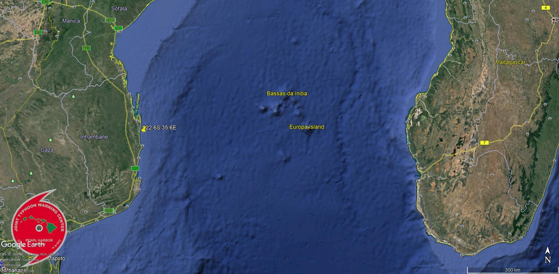 Posiition estimée de la zone suspecte 92S hier soir à 22h.