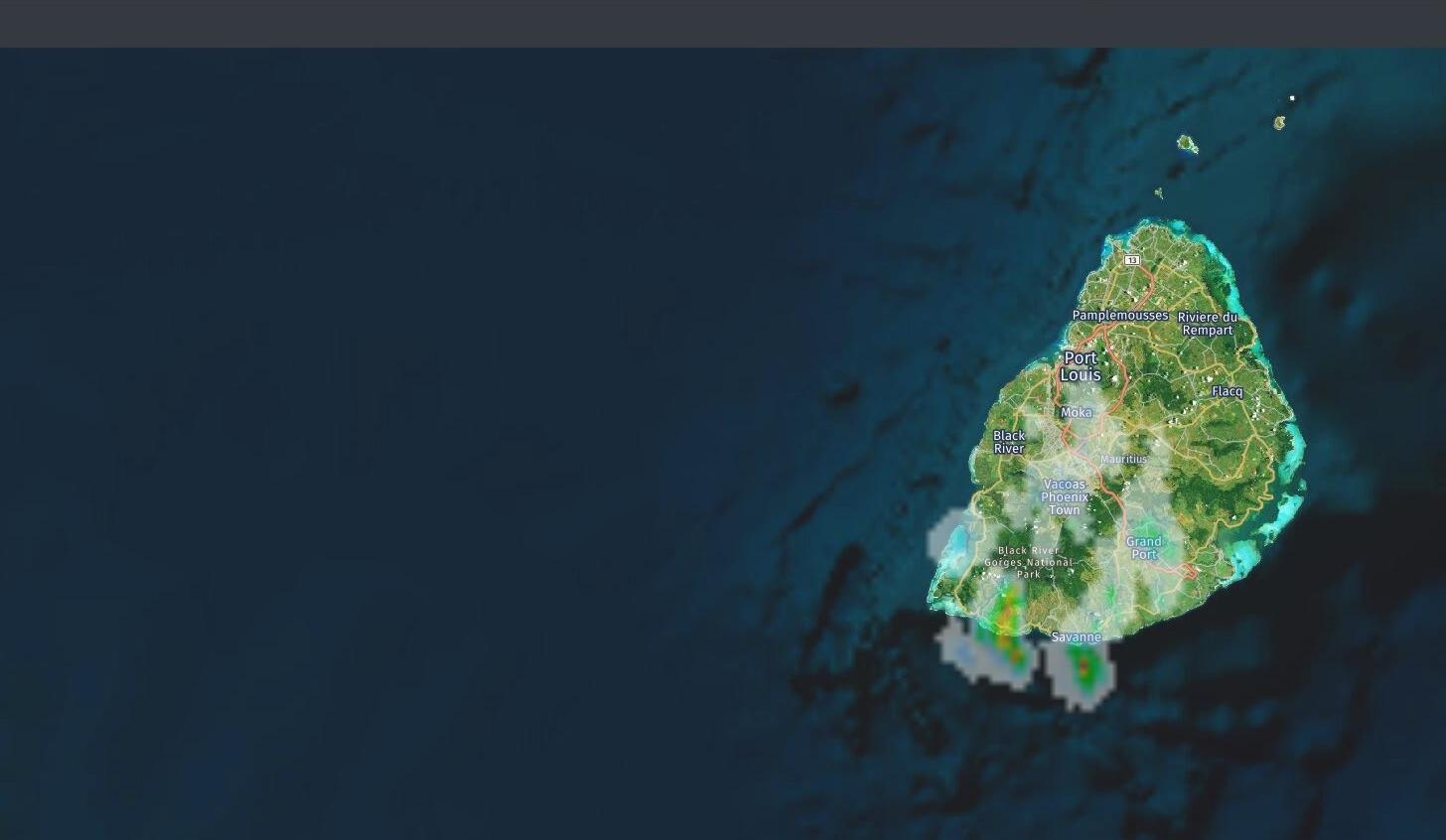 Maurice: image radar à midi. Des averses déjà bien notées sur le quart sud ouest de Maurice. Crédit: https://www.meteoi.re