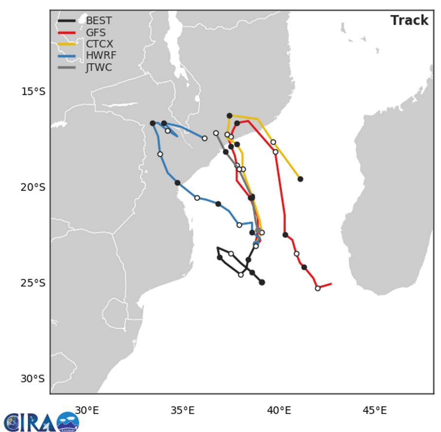 22h: simulations de trajectoires par les modèles. GFS et CTCX montrent un retour possible sur le Canal de MOZ après l'atterrage sur le Mozambique. Possible interaction avec 93S qui pourrait alors s'intensifier sur le Canal.