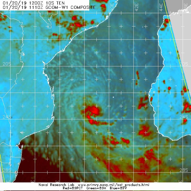 """15h10.Mirco-ondes(qui """"voit"""" à travers les nuages) montre bien le centre au nord de la convection."""