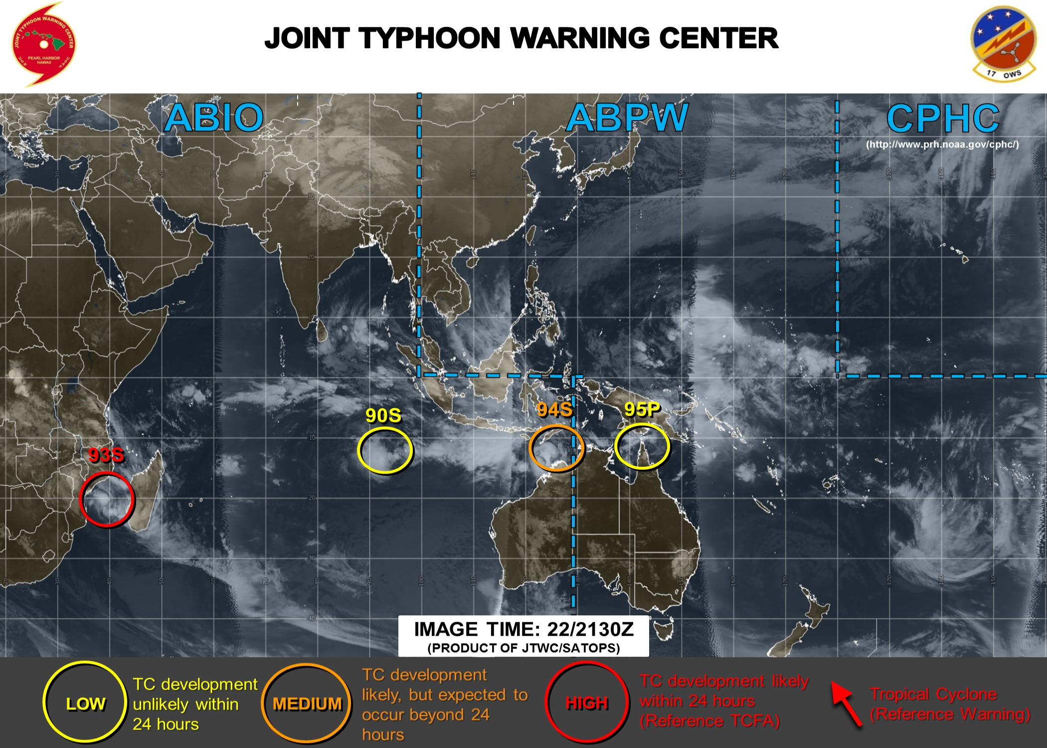 Si l'on exclut les résidus de DESMOND(10S) sur le Mozambique et la zone 90B sur le sud du Golfe du Bengale mais qui n'est pas sur cette carte pour le public, 4 systèmes sont sous surveillance. JTWC