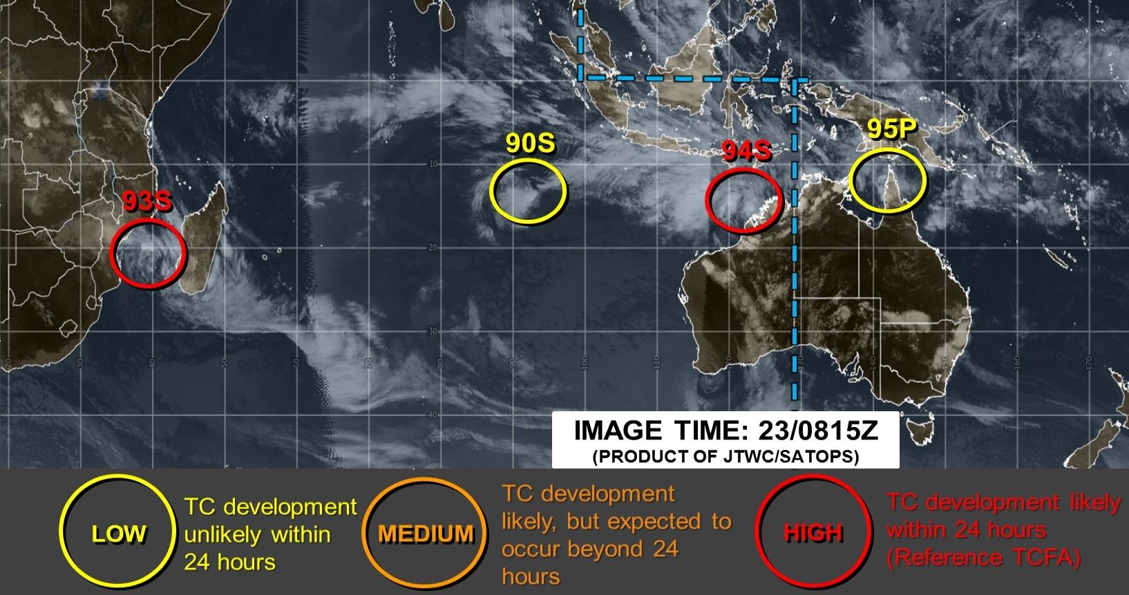 Carte du JTWC mise à jour 12h15. 3 systèmes sont suivis sur le Sud Indien: 93S, 90S et 94S. Un autre système se trouve sur le Sud Pacifique: 95P. Les deux systèmes en rouge ont des chances élevées d'atteindre le stade de dépression tropicale dans les prochaines 24H.