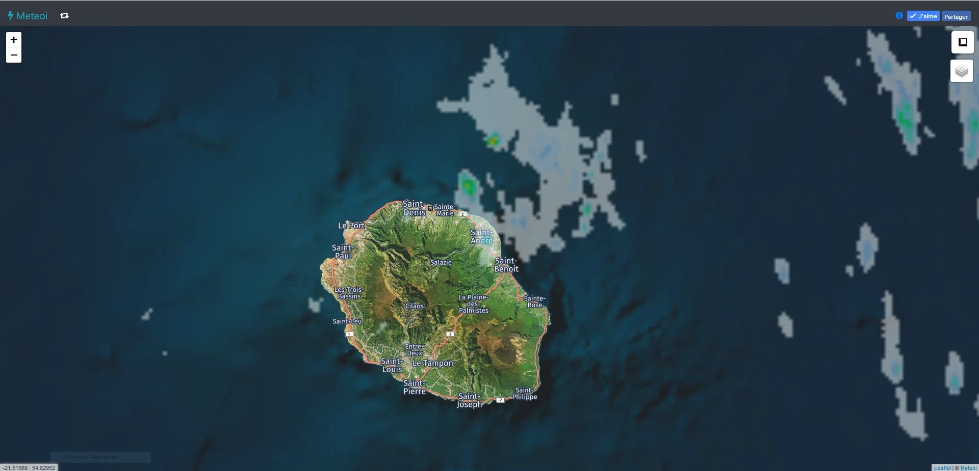Radar de Météo France Réunion à 03h55. Crédit https://www.meteoi.re/