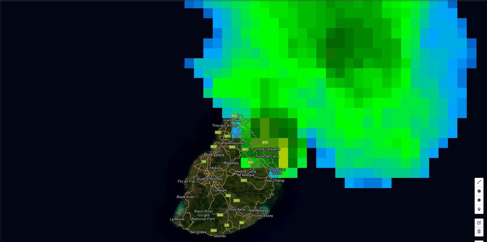 03h: l'image satellite en haute résolution place également le maximum de précipitations vers Roches Noires/Poste de Flacq.
