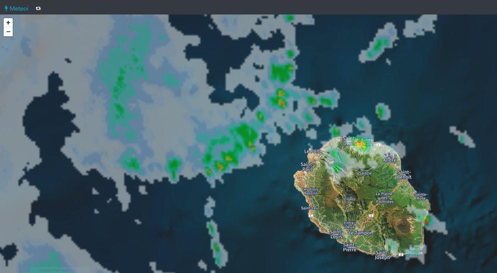 Radar de Météo France à 11h20. Des nuages plus actifs arrivent par le nord ouest. Crédit https://www.meteoi.re/
