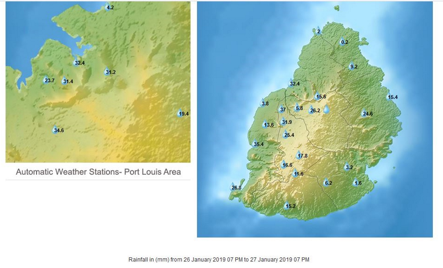 Stations MMS/Vacoas. Pluies en 24h à 19h.