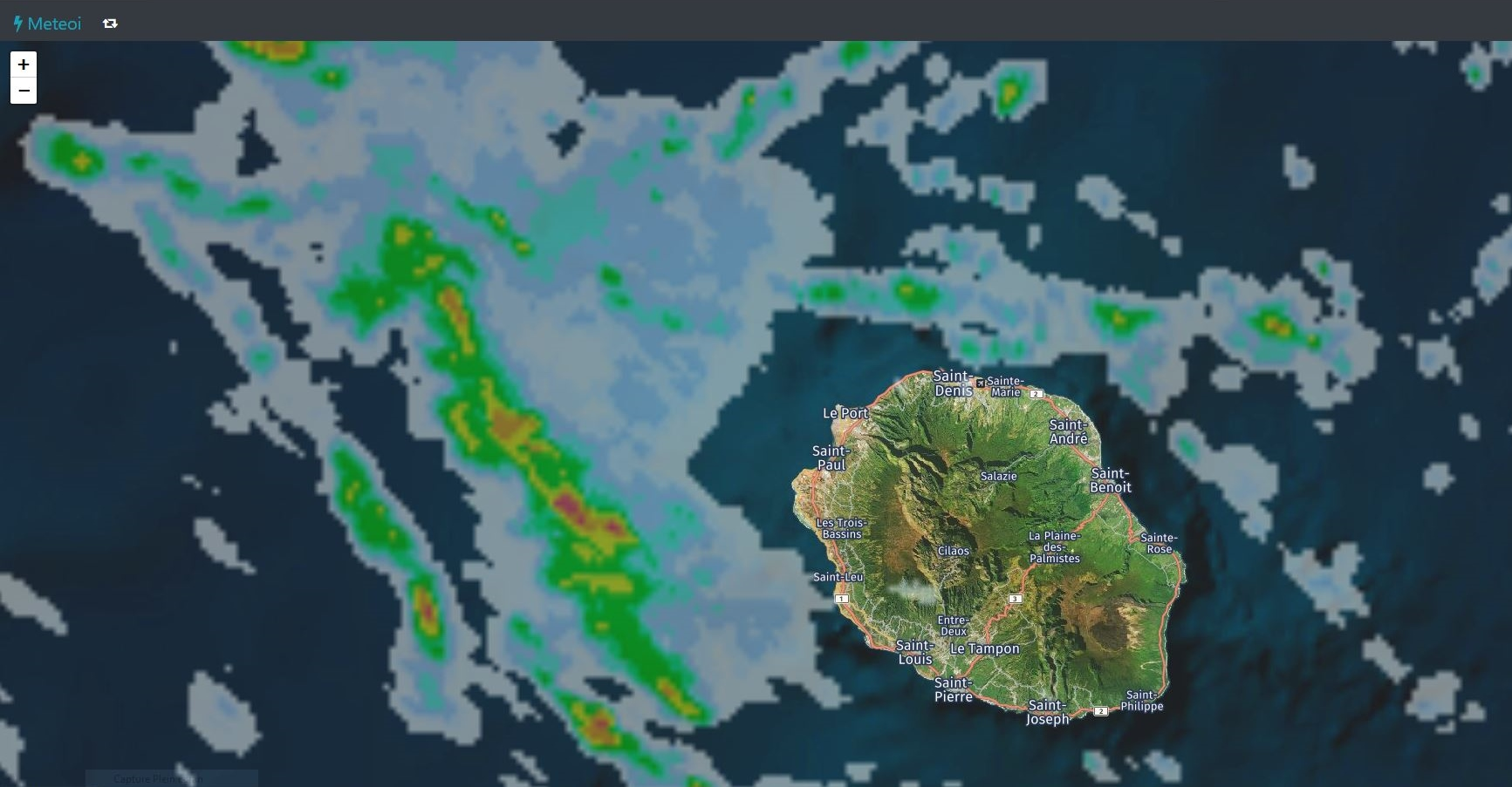 23H50 Image radar Météo France. Crédit https://www.meteoi.re