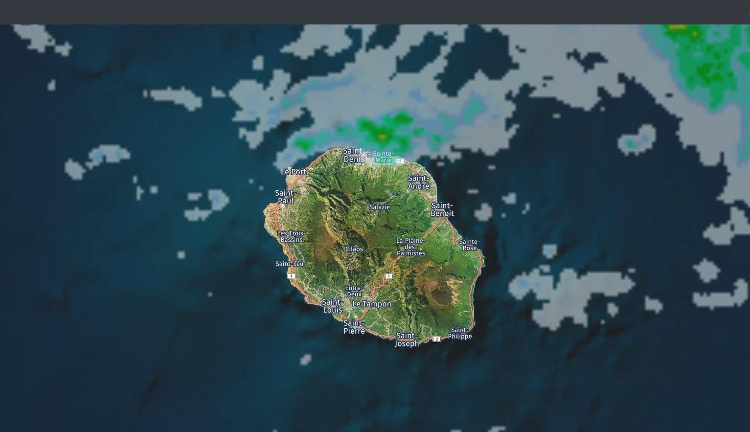 Image radar Météo France Réunion de 08h40. Crédit: https://www.meteoi.re/