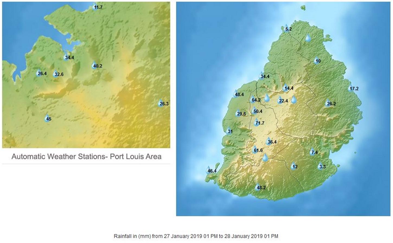 13h: cumuls de pluie en 24h dans les stations de MMS. Vacoas affiche le total le plus élevé avec 71.7mm