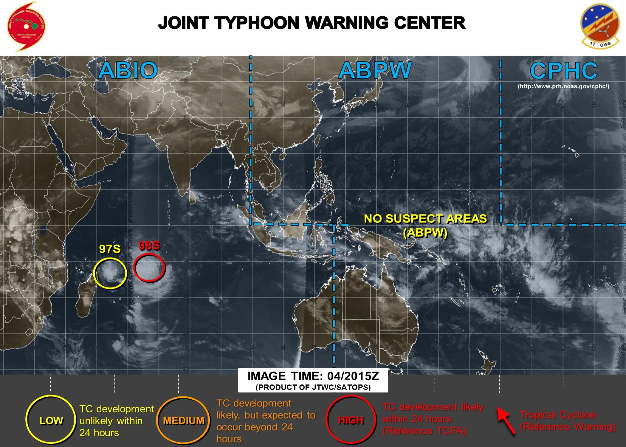 Carte du JTWC: 98S a de fortes chances de s'intensifier en dépression tropicale dans les prochaines heures. De son côté 97S est sous surveillance.