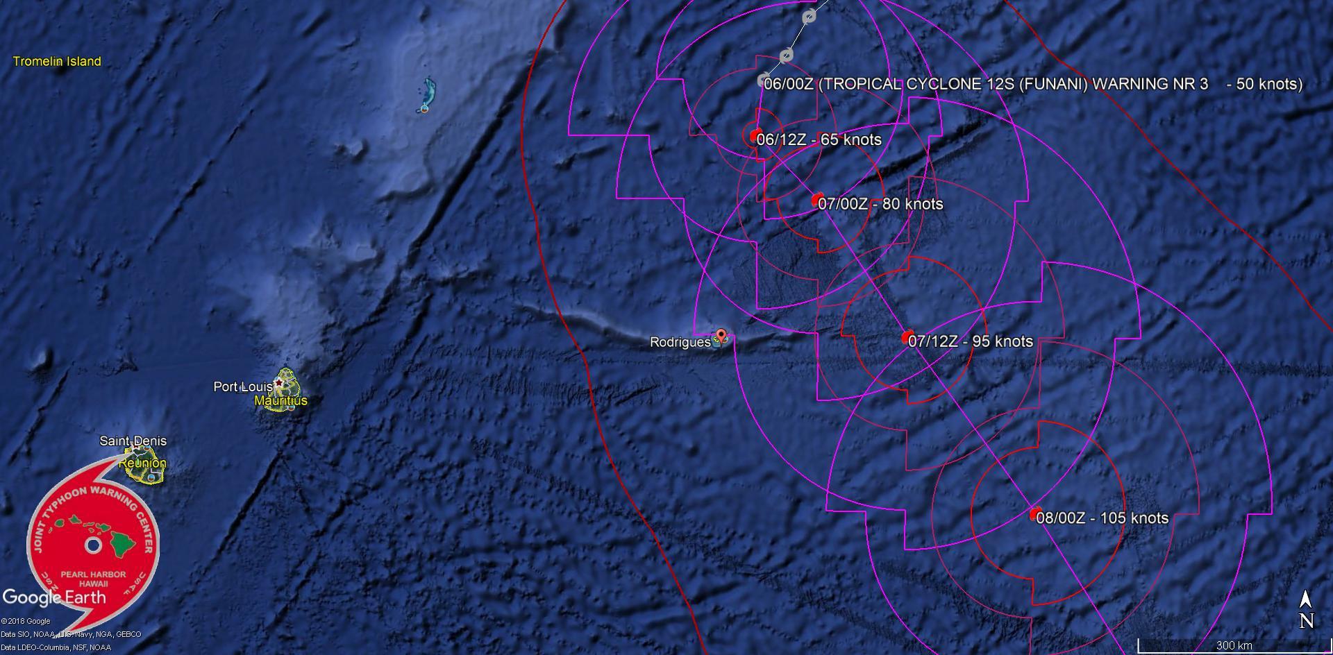"""Trajectoire et intensité prévues par le JTWC pour FUNANI(12S). Le centre du système pourrait passer à 215km de Rodrigues demain. Le système serait alors un cyclone tropical. """"tropical cyclone"""" est le terme scientifique en anglais qui englobe les dépressions, tempêtes et cyclones tropicaux."""