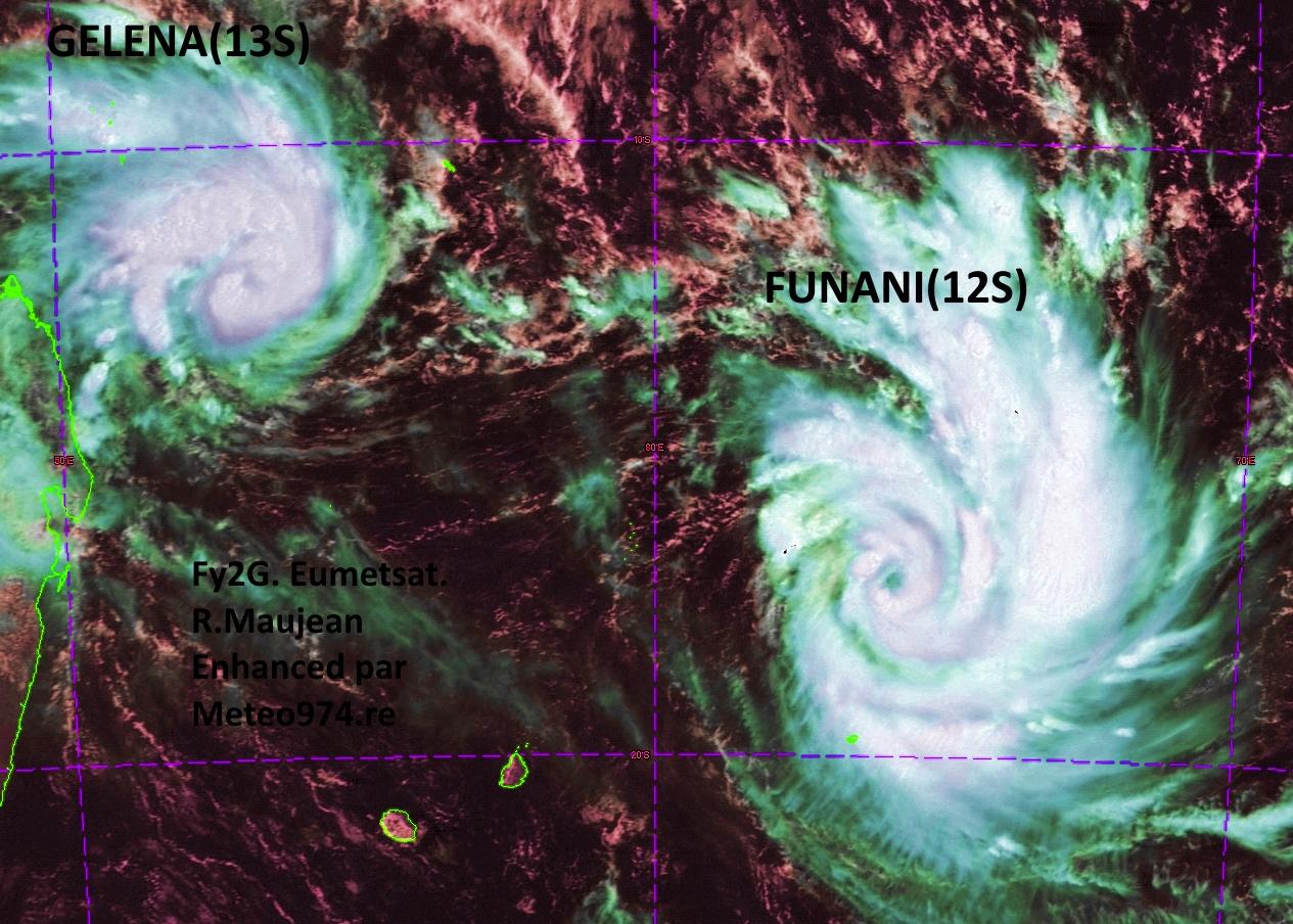 Satellite à 11h: Funani s'intensifie rapidement à un peu plus de 300km de Rodrigues.