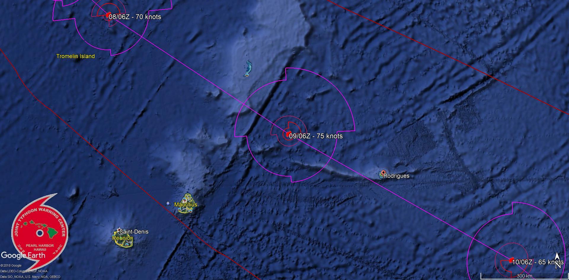 Trajectoire et intensité prévues pour GELENA par le JTWC à l'heure actuelle. Le système pourrait passer très près de Rodrigues dans la journée de Samedi au stade de cyclone tropical.