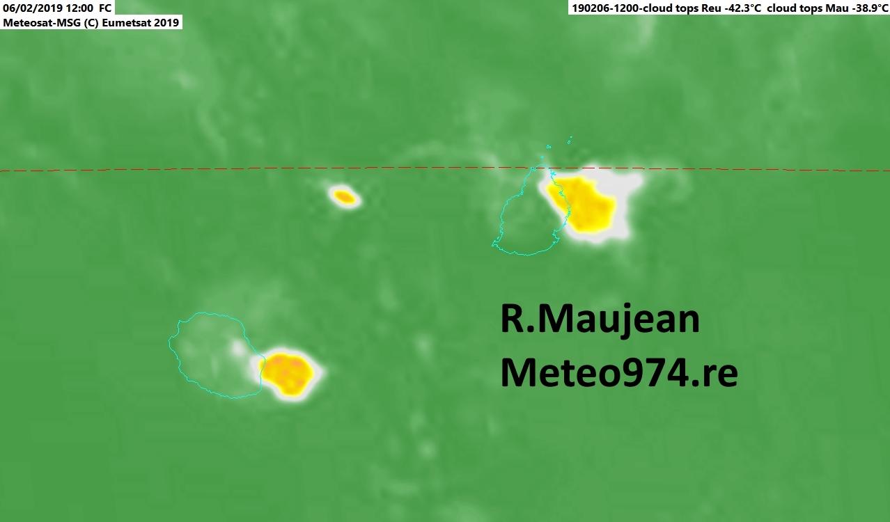 Maurice/Réunion: averses orageuses en cours
