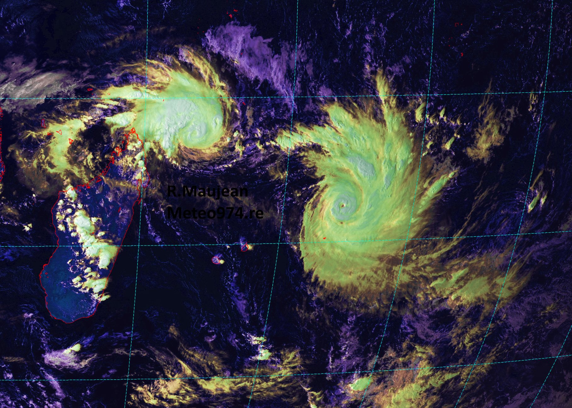 17h: Photos satellite haute résolution, Funani analysé en cyclone tropical