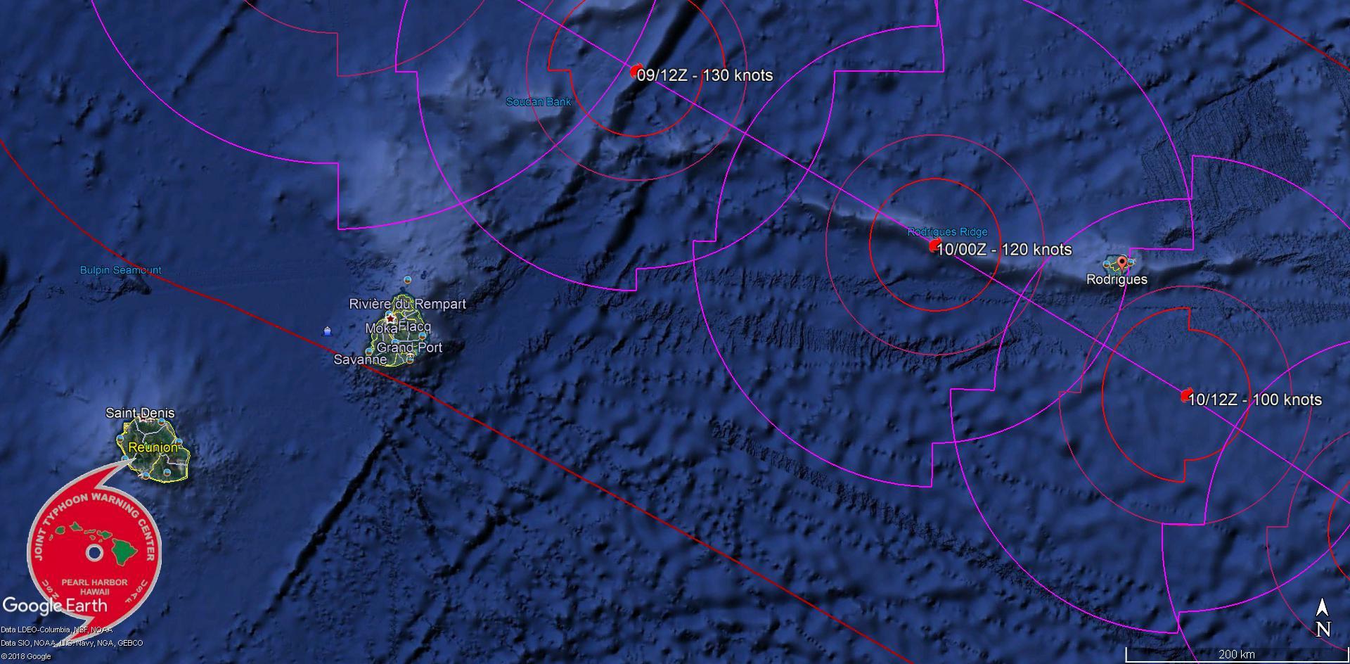 JTWC: passage prévu à 270km au nord-est de Maurice et à moins de 100km de Rodrigues.