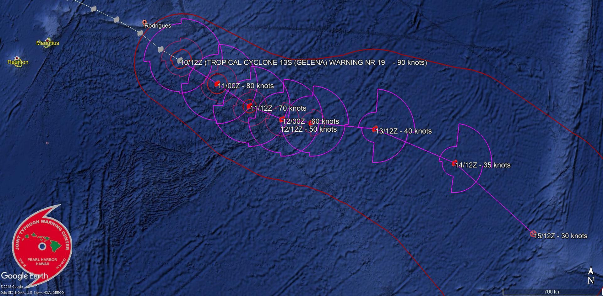 JTWC: le cyclone s'éloigne de Rodrigues.