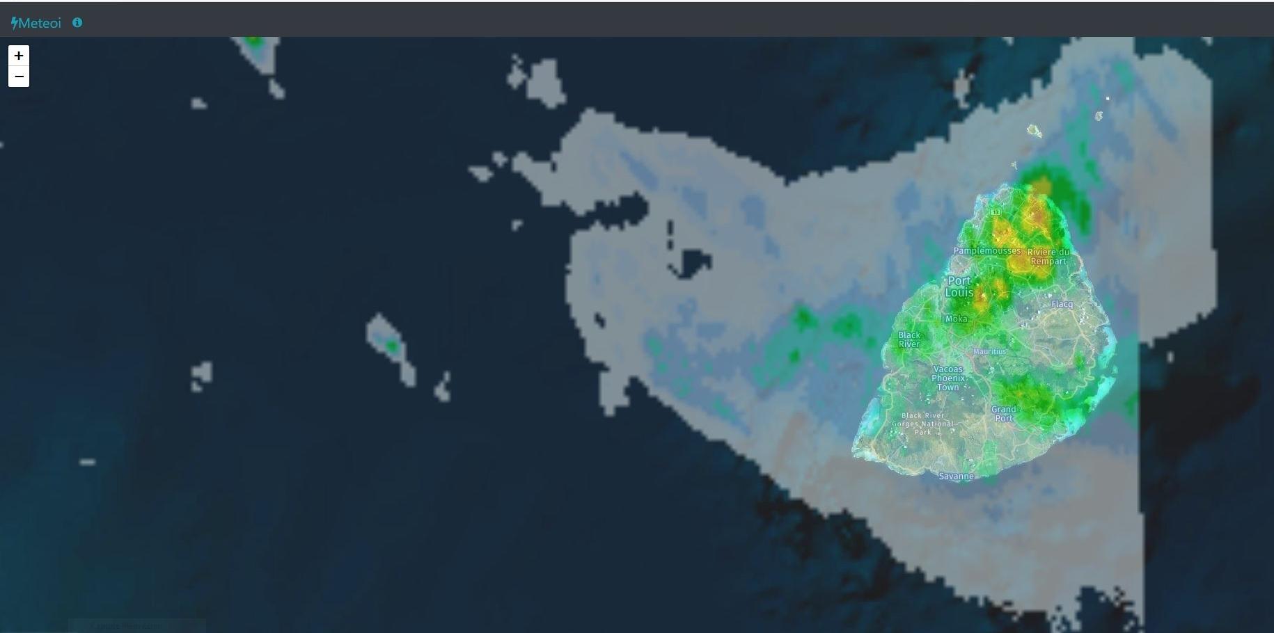 Radars Météo France Réunion à 13h59. https://www.meteoi.re