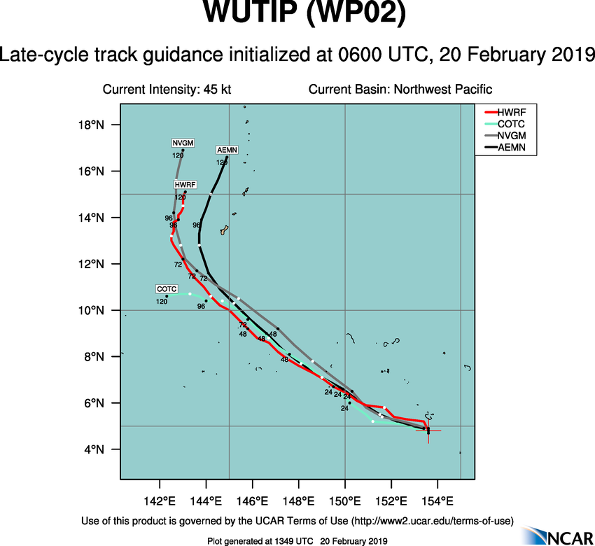 15UTC: WUTIP(02W) intensifying and forecast to reach CAT3 US in less than 2 days while approaching the Guam/Yap area