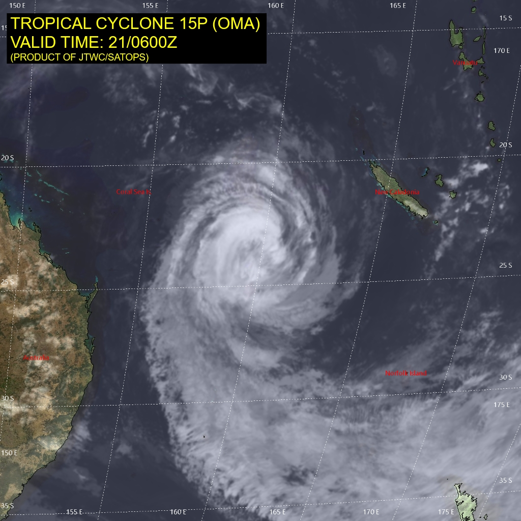 09UTC: cyclone OMA(15P): forecast to dissipate(below 35knots) in 4 days