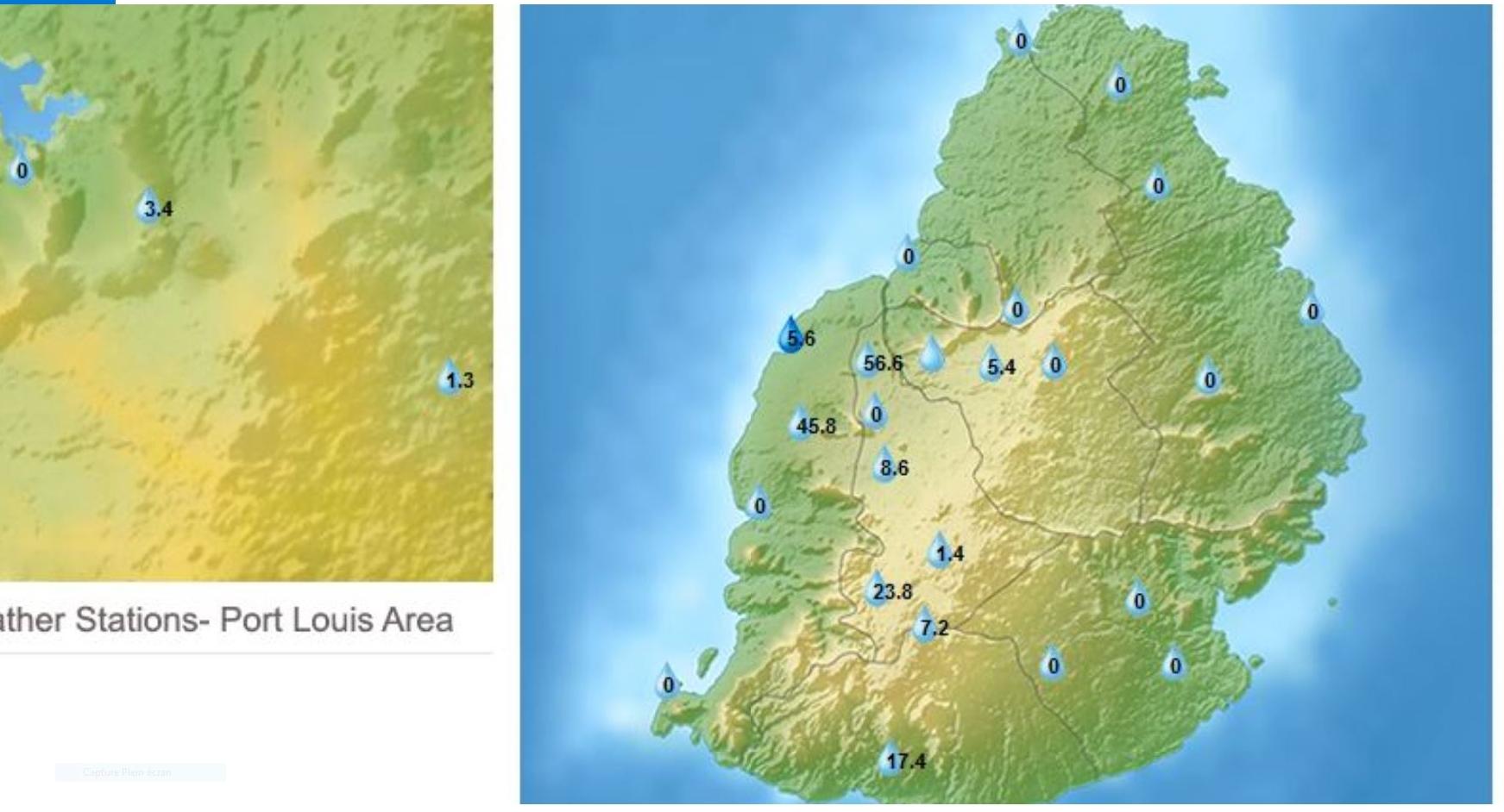 16h: pluies en 3h à Maurice, stations de MMS/Vacoas. Beau Bassin, Beaux Songes, Mare aux Vacoas, StFelix ont éte les plus arrosées.
