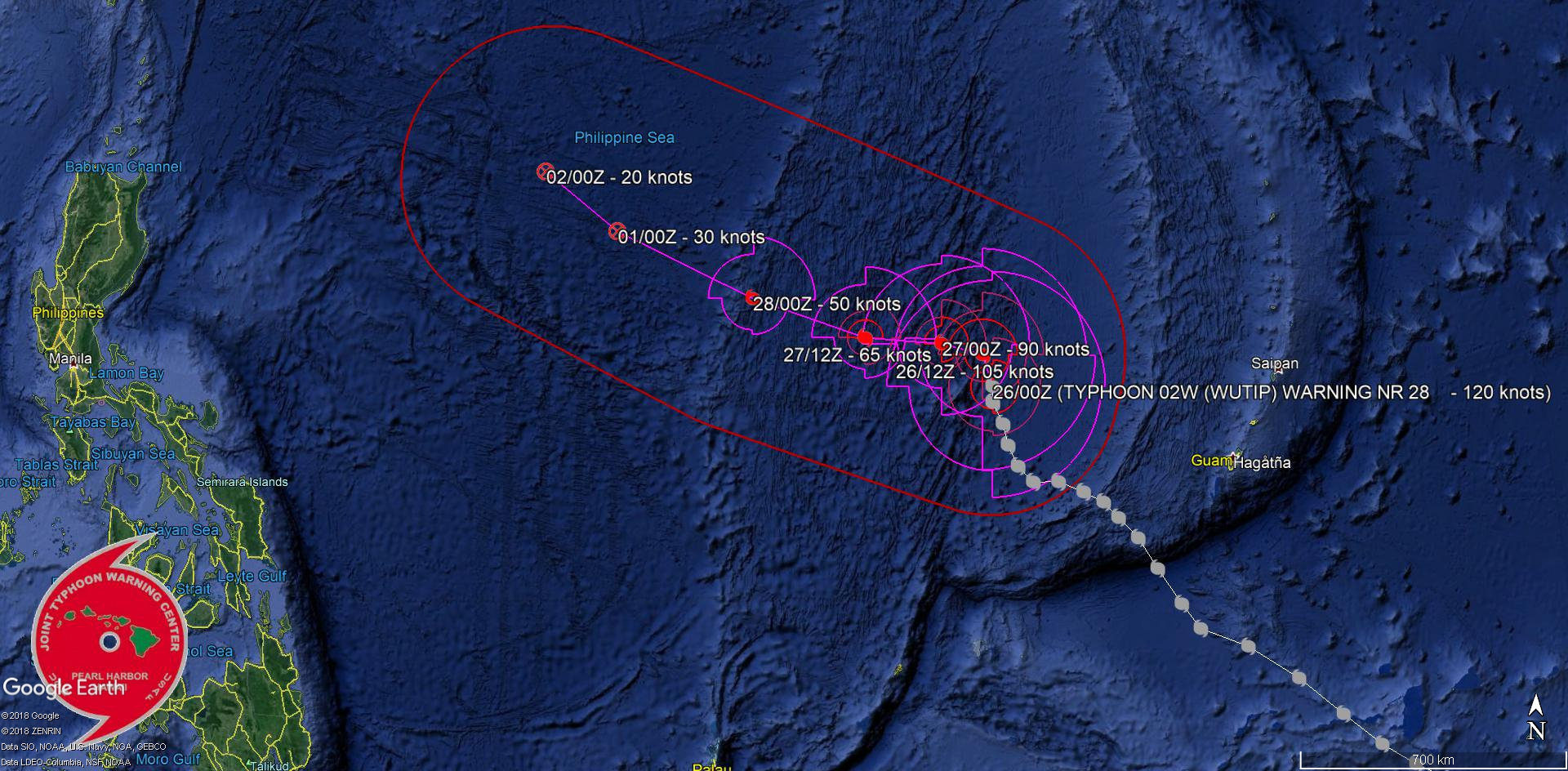 03UTC: Typhoon WUTIP(02W) ,Category 4 US, slow-moving and forecast to weaken rapidly after 24hours, no threat to land