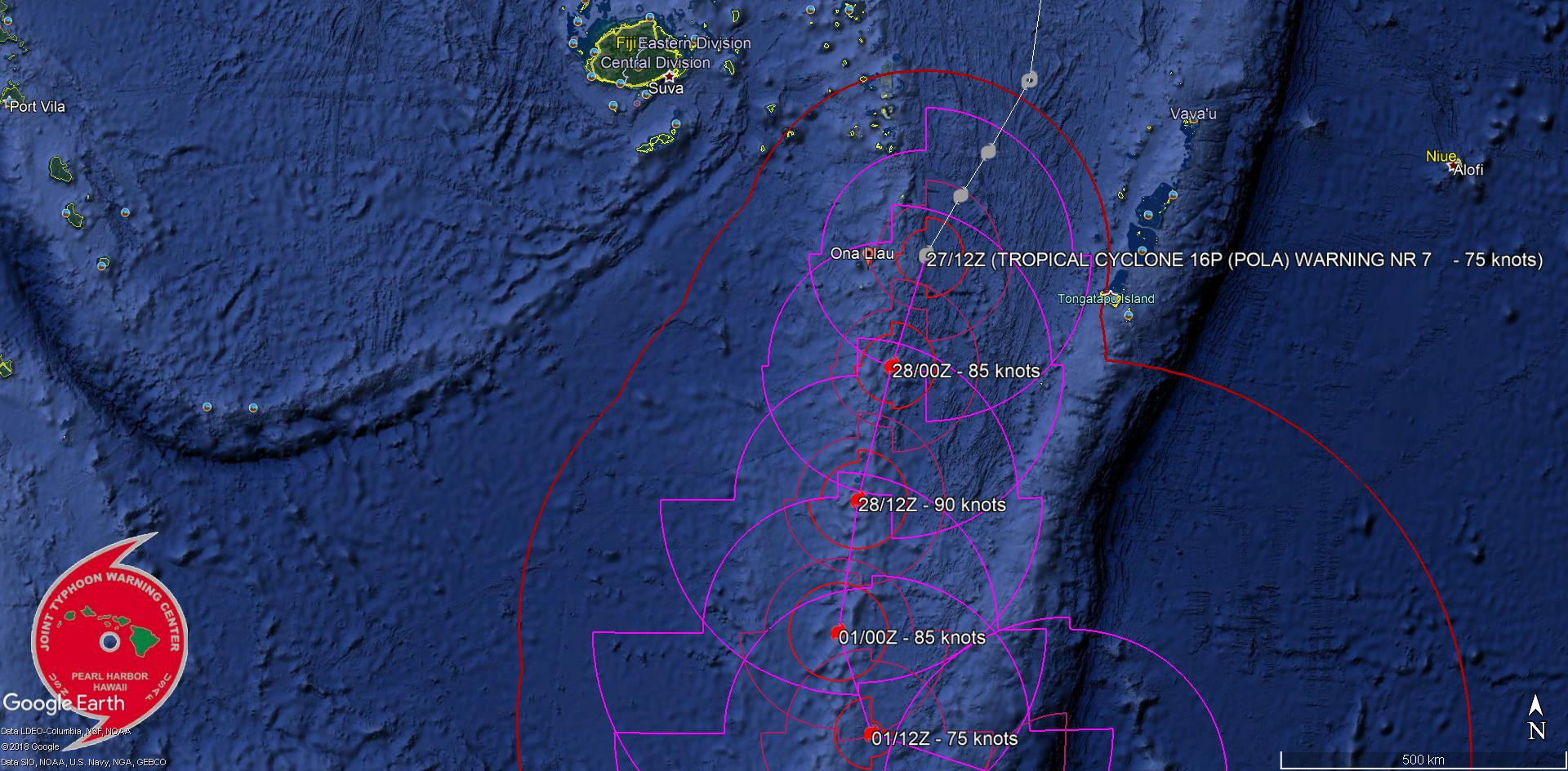 15UTC: Cyclone POLA(16P) Category 1 US, tracking less than 100km to ...