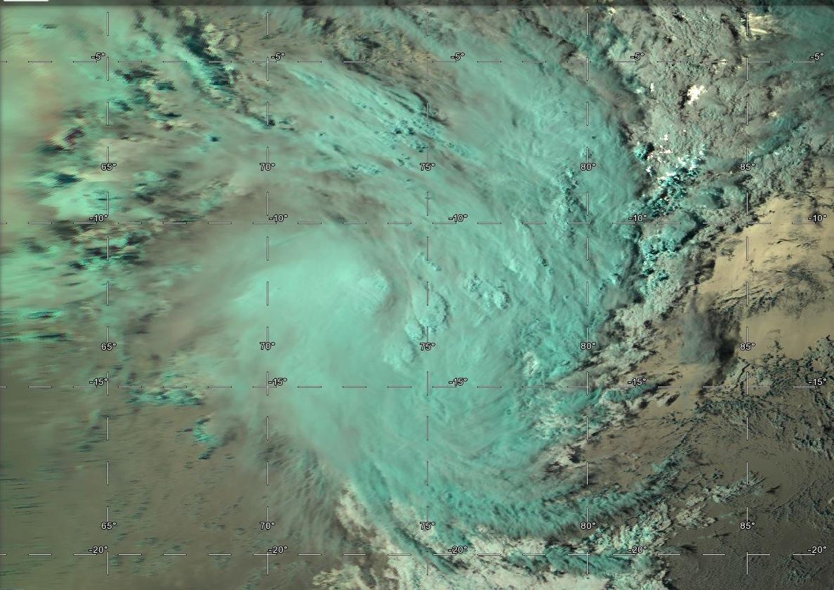 Tempête tropicale modérée HALEH(17S) vue par satellite à 15h.