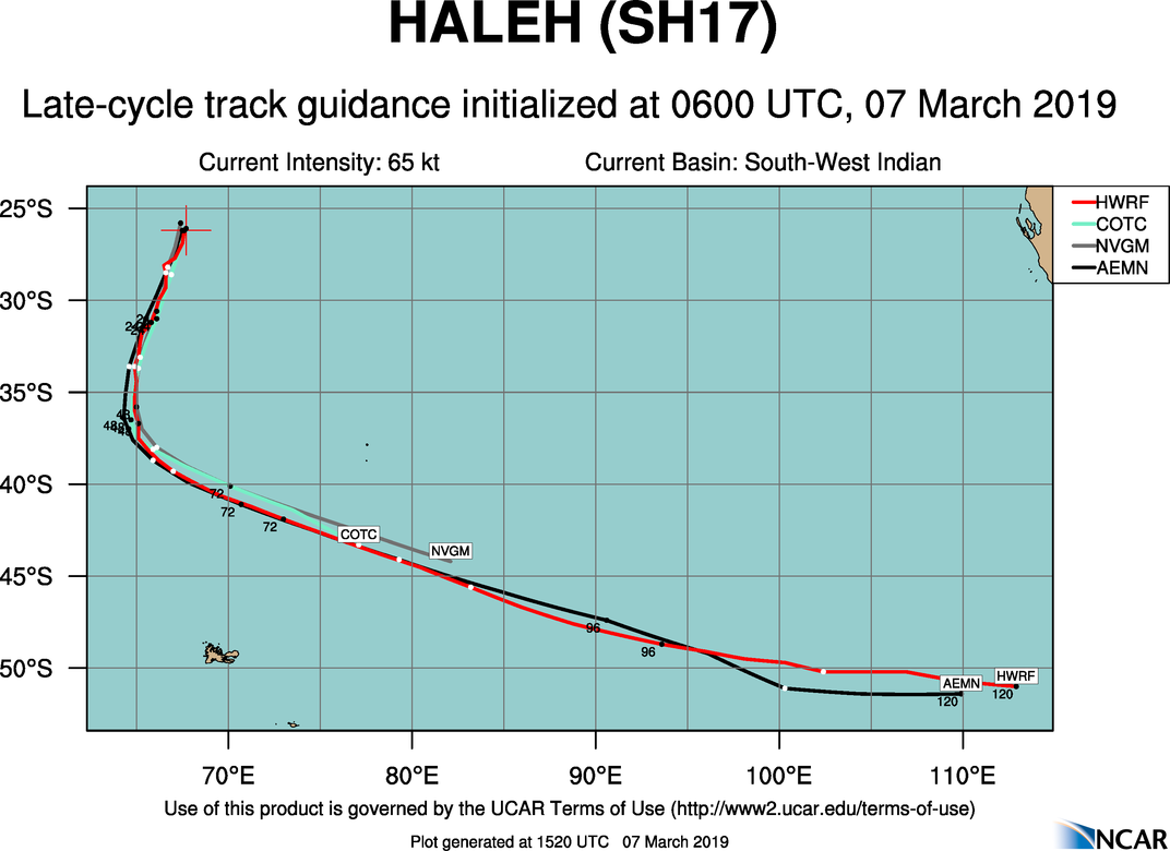15UTC: Cyclone HALEH(17S) weakening and forecast to be a cold-core mid latitude low in 48hours