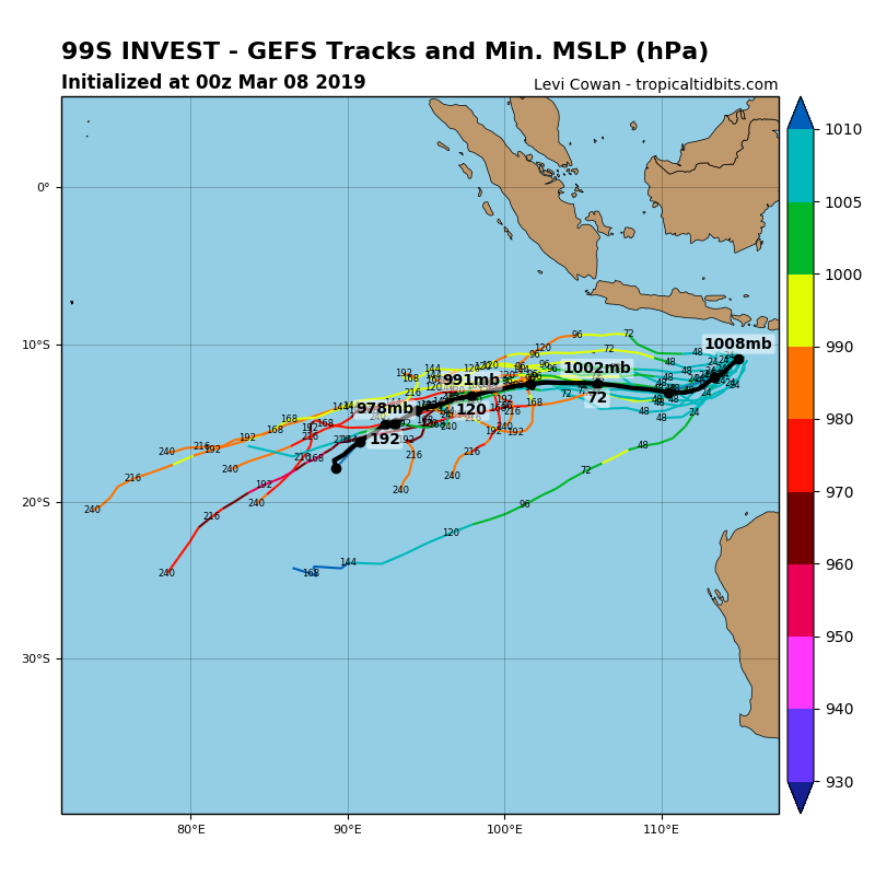 Les modèles anticipent le développement de 99S sur le Sud Est Indien ces prochains jours. Le système pourrait se rapprocher de 90°Est dans 8 jours.