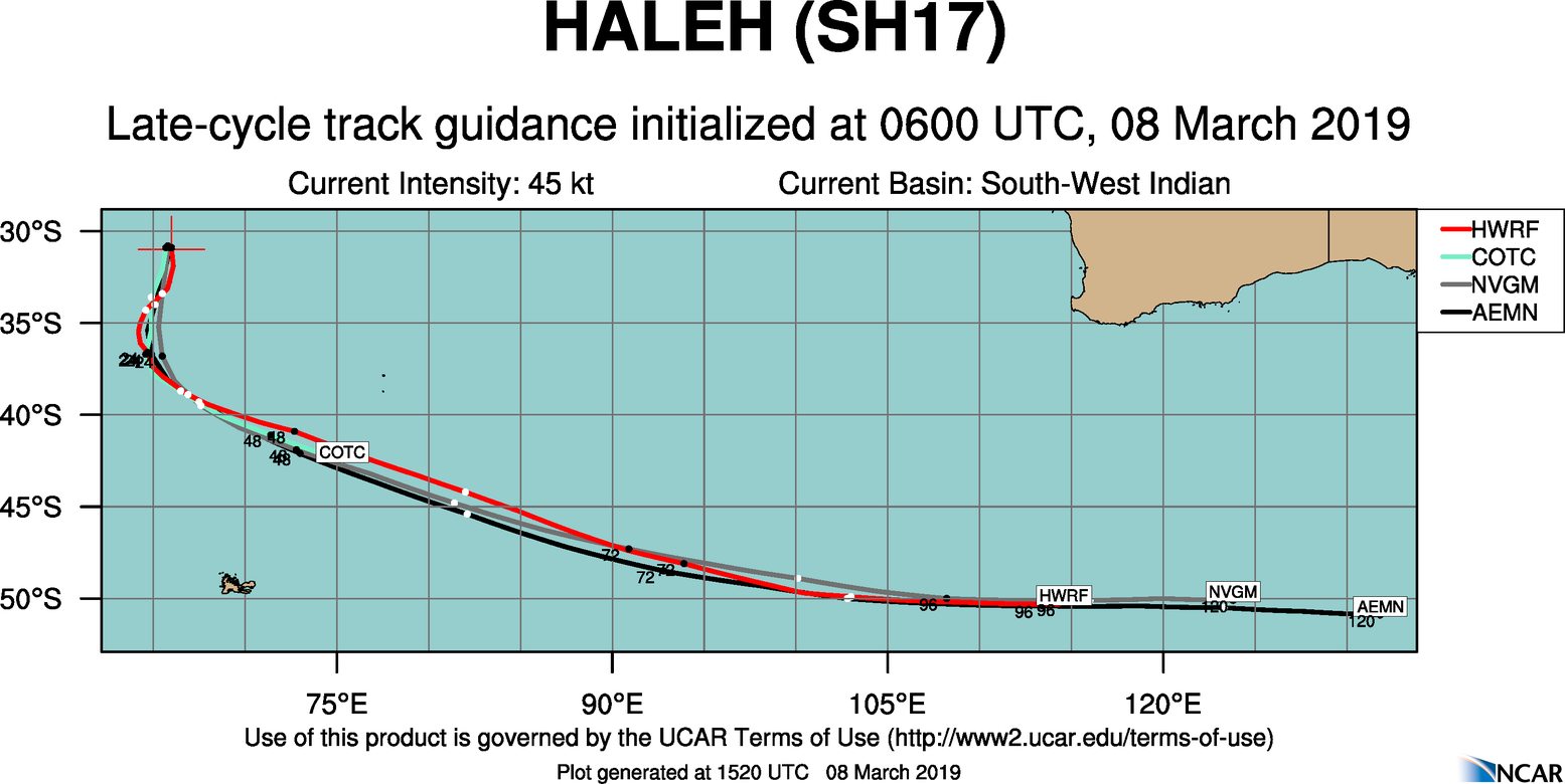 15UTC: TC HALEH(17S) undergoing slow extratropical transition