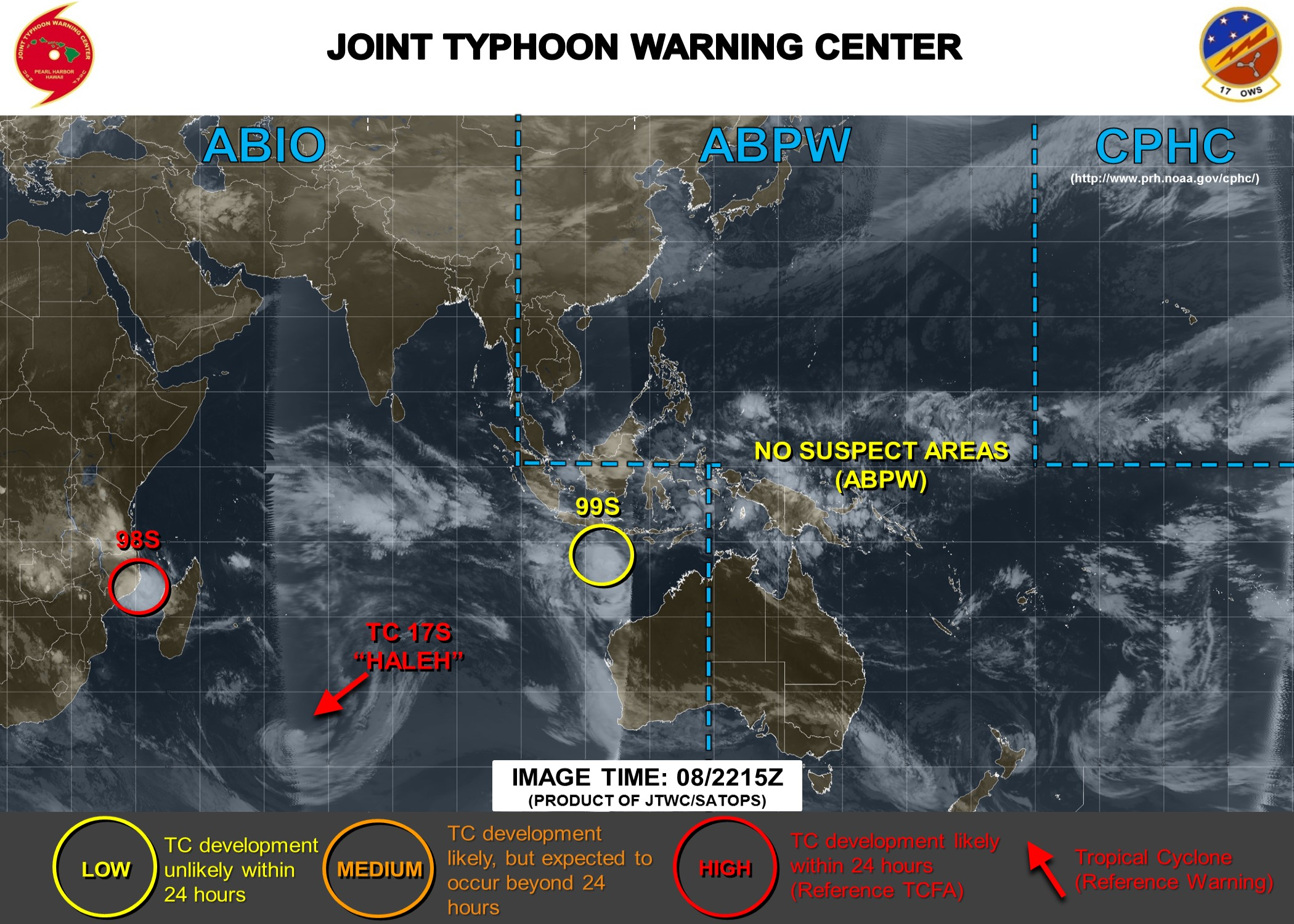 22UTC: 98S: Tropical Cyclone Formation Alert(TCFA) issued by the JTWC
