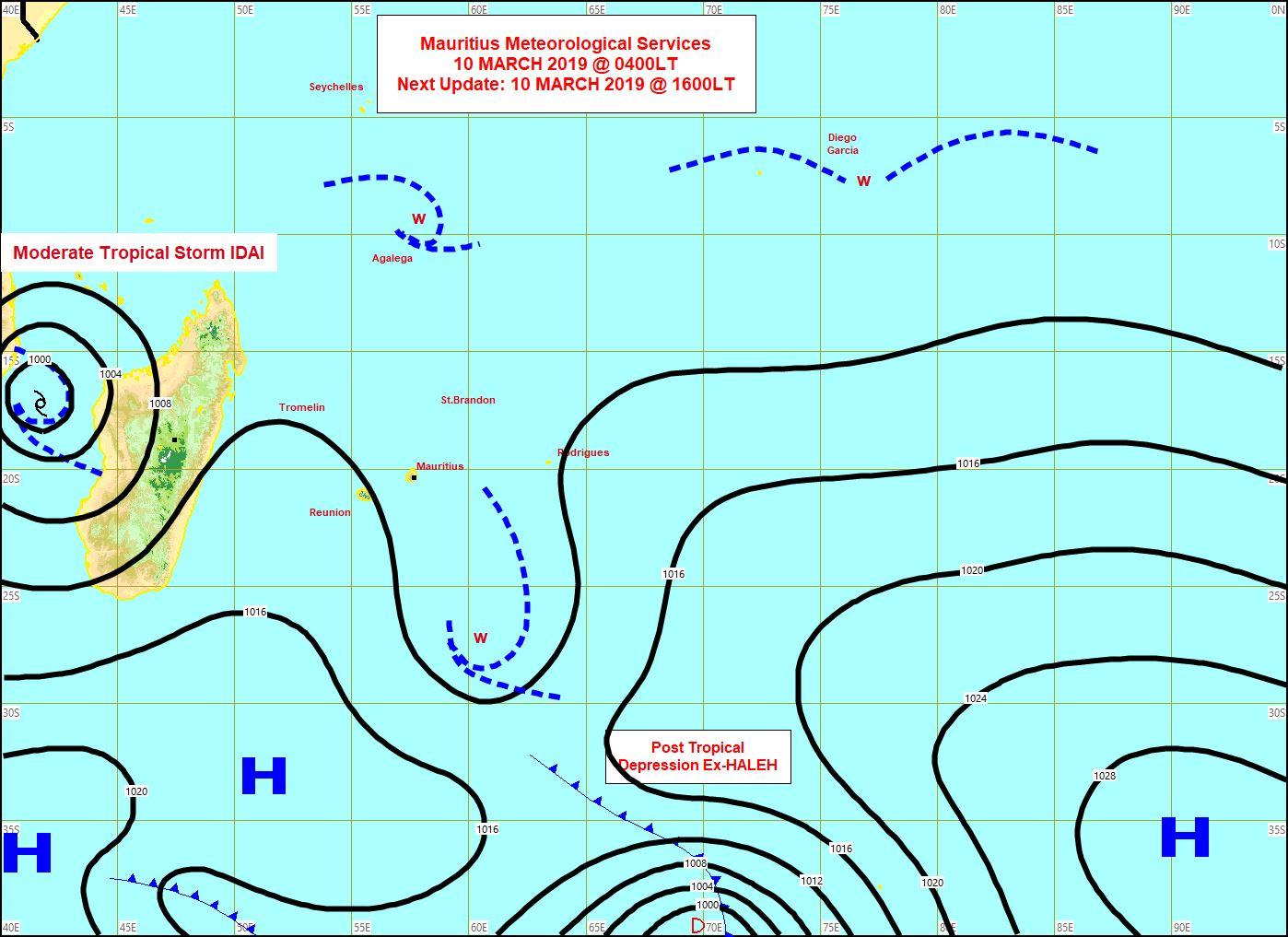 Carte synoptique établie par MMS/Vacoas à 04h ce matin. Vents faibles sur la Réunion et Maurice.