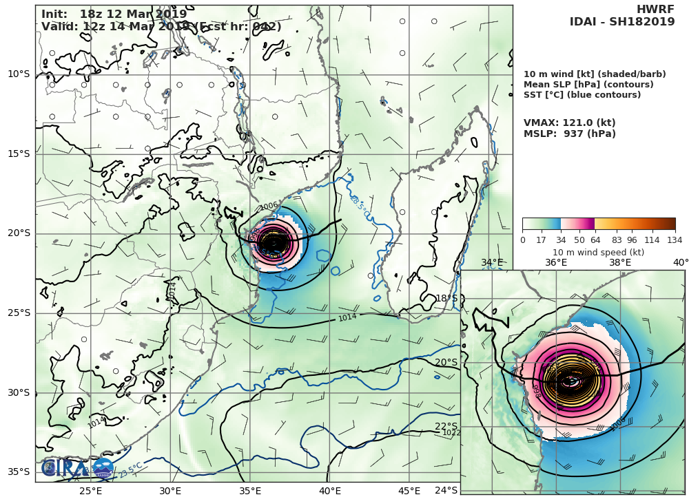 03UTC: cyclone IDAI(18S) 560km to Beira, slowly approaching, could hit the area shortly after 36hours