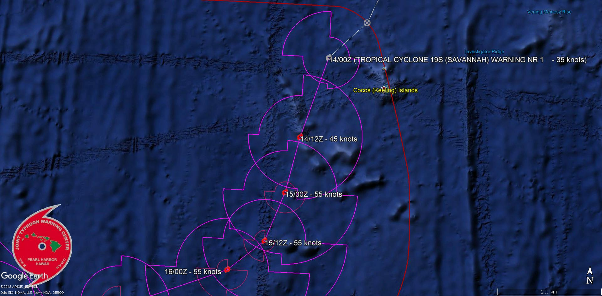 SAVANNAH(19S) tracking approx 110km to the Cocos islands.