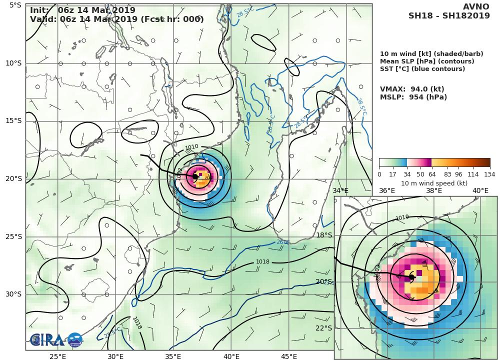 15UTC: Cyclone IDAI(18S) life-threatning category 3 US set to make landfall very close to Beira shortly before 12 hours
