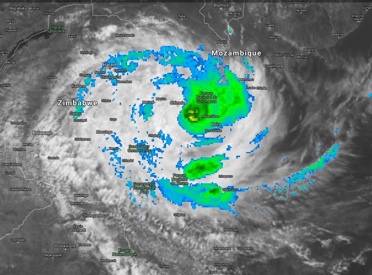 09UTC: TC IDAI(18S) is over overland now, Maximum intensity reached over water was 110knots, top Category 3 US