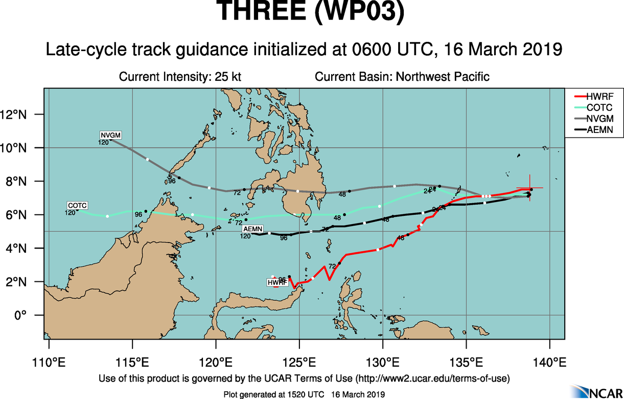 15UTC: TD 03W set to track very close to Palau shortly after 12hours and dissipate over southern Mindanao in 72hours