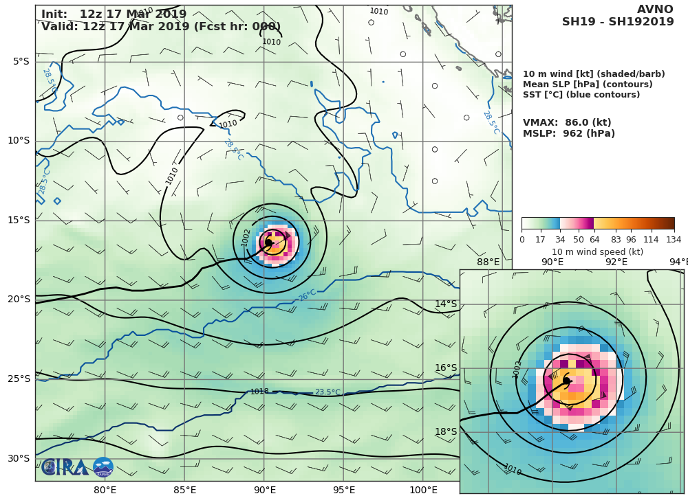 21UTC: TC SAVANNAH(19S) category 2 US is now weakening over the open seas of the South Indian Ocean