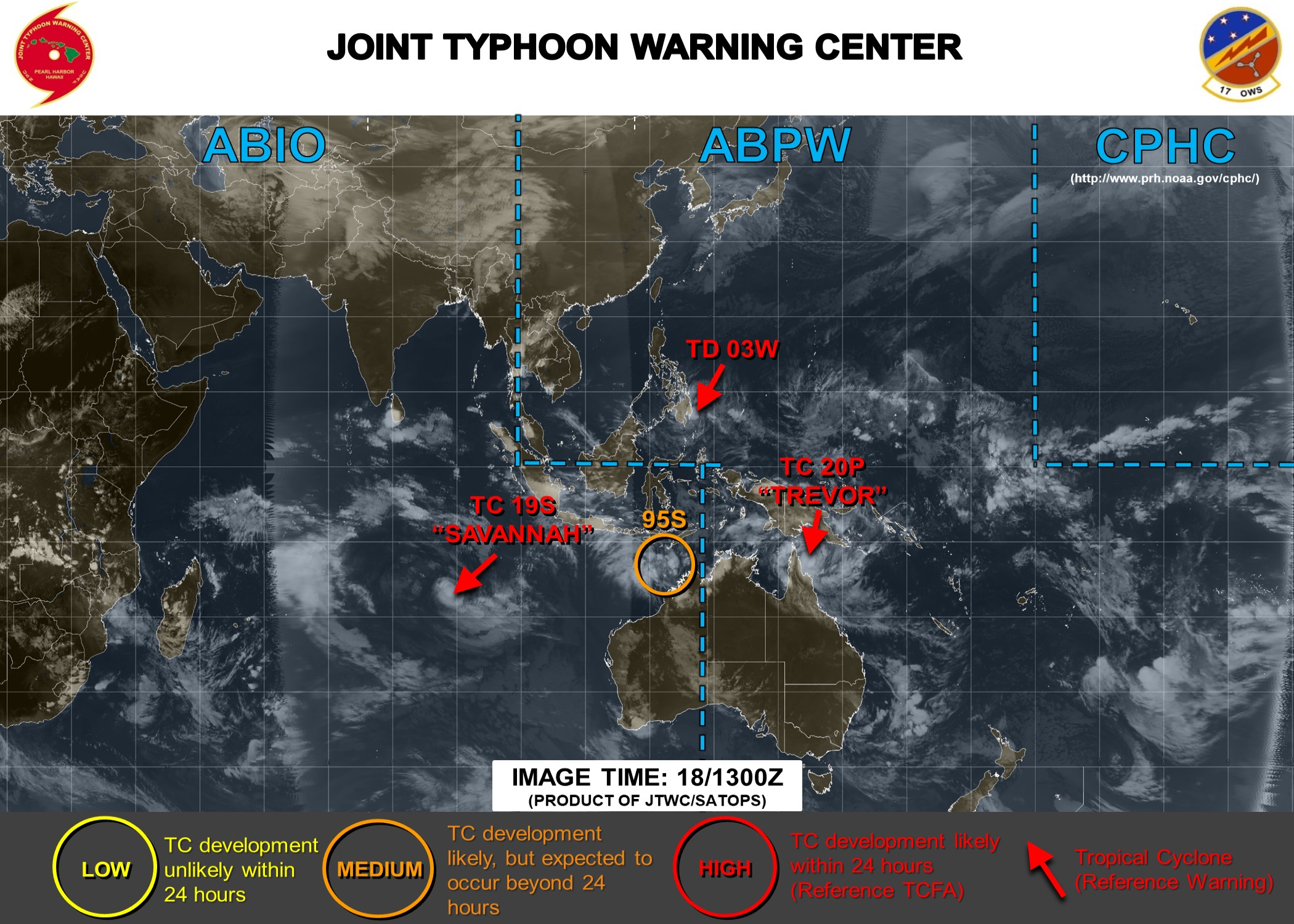 13UTC: South Indian: 95S is likely to develop next several days to the northwest of Western Australia