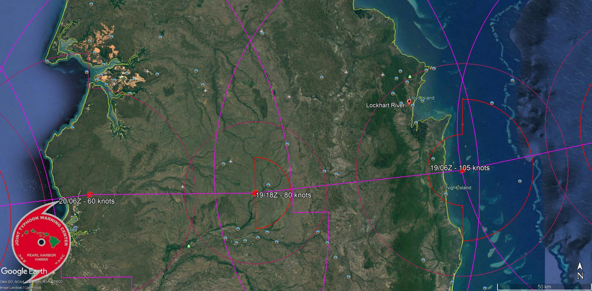 FORECAST LANDFALL AREA IN 12H LESS THAN 50KM SOUTH OF LOCKHART