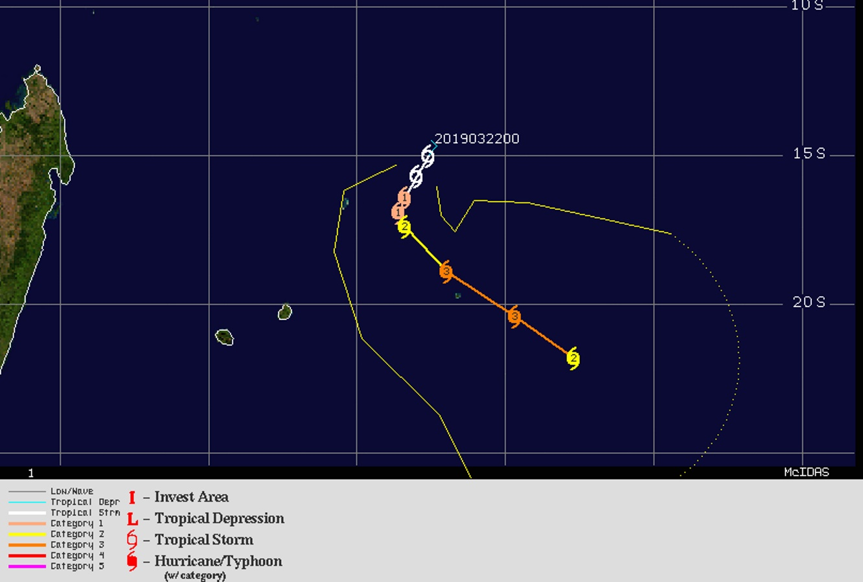 JOANINHA pourrait s'approcher dangereusement de Rodrigues dans 3 jours au premier stade de cyclone intense(catégorie 3 US).