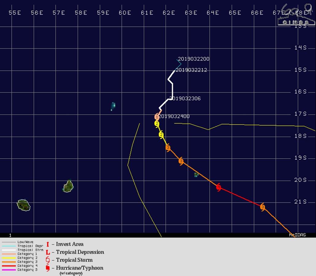 Bulletin N9 de la Navy: le cyclone intense(catégorie 3 US) pourrait passer au plus près de Rodrigues mardi matin.