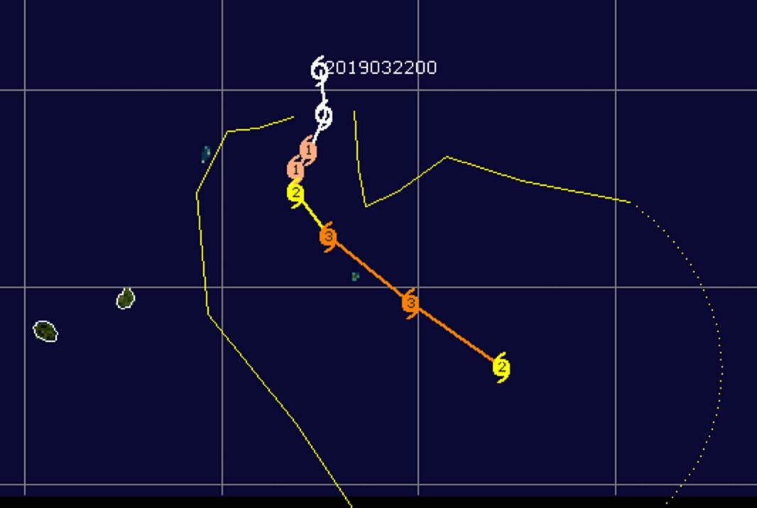 Prévi N1 établie par le Joint Typhoon Warning Center 4 jours avant le passage effectif au plus près de Rodrigues.